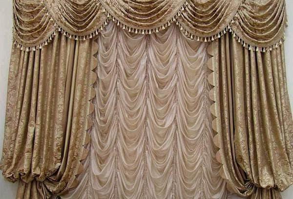 французские шторы для зала