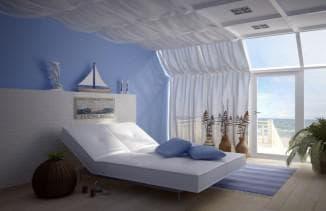 оформление комнаты шторами в морском стиле