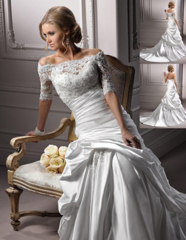 тафта в красивом свадебном платье