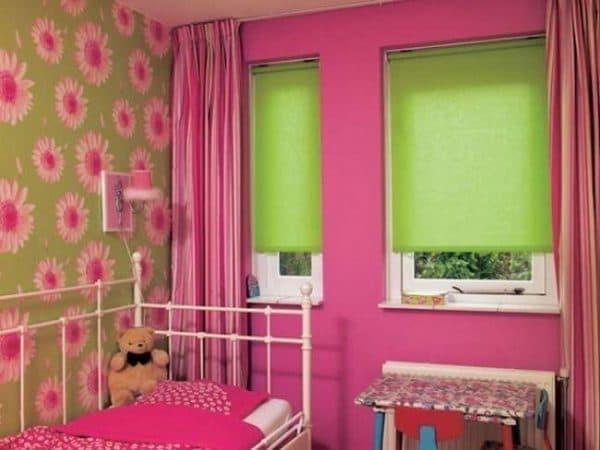 ролл шторы в спальню