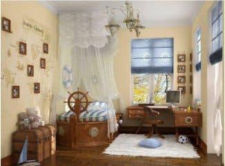 комната оформленная в морском стиле под цвет штор