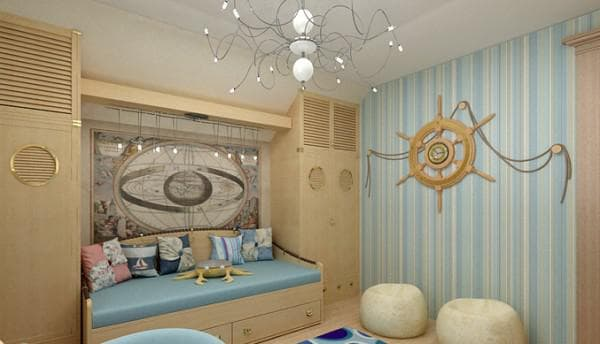 шторы в детскую с элементами морского декора