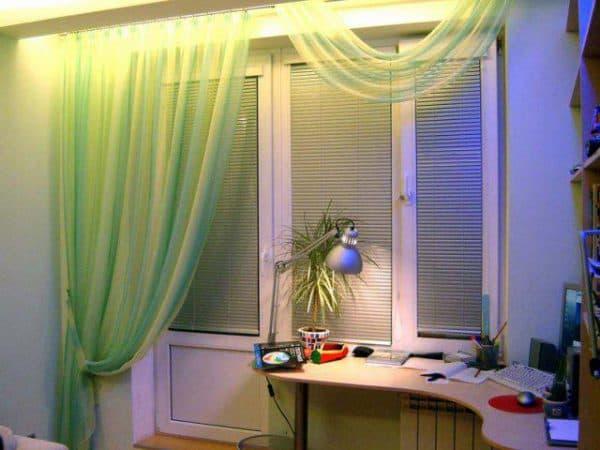 ламбрекен шарф на балконную дверь