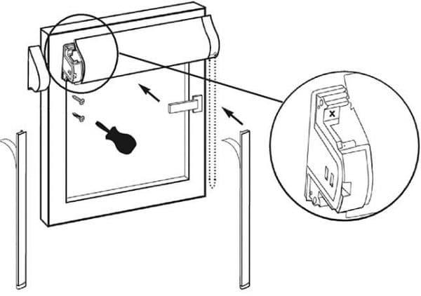 рулонно кассетные шторы крепление