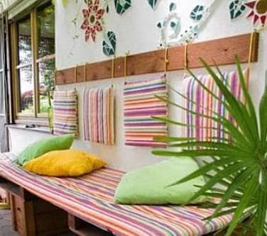 подушки для садовой мебели на скамейку