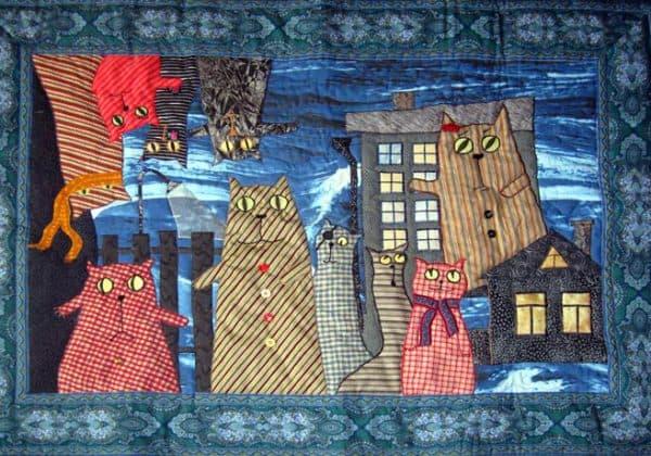 лоскутные одеяла в стиле пэчворк с рисунками