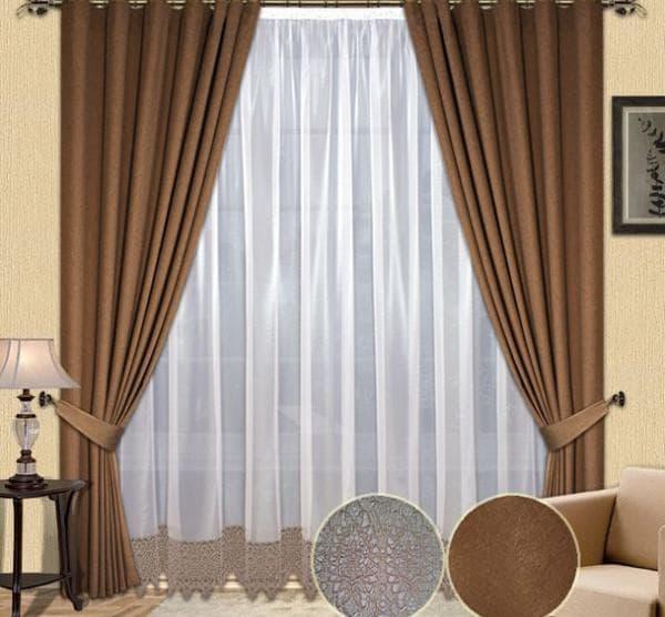 шторы на окна сочетание бархата и тюли