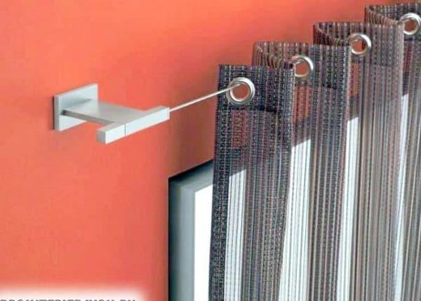 шторы на люверсах крепятся на корнизе и на стену
