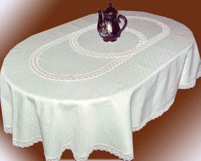 скатерть на овальный стол для кухни из льна