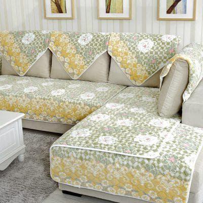 покрывало на диван на резинке нейтральной расцветки
