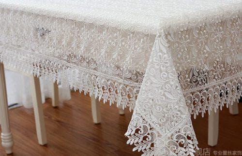 прозрачная скатерть на кухонный стол из хлопкового кружева