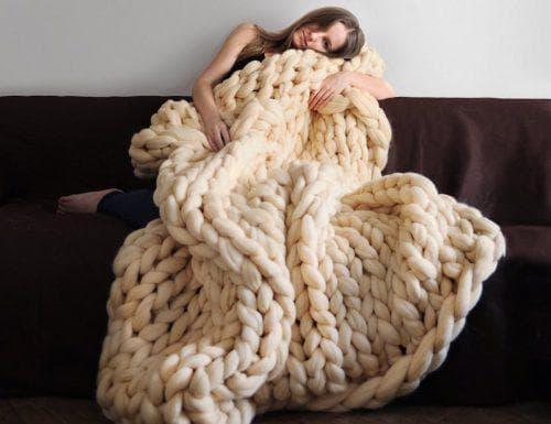 плед из шерсти мериноса крупной вязки DIVA Peruano
