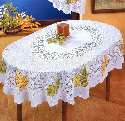 скатерть на овальный стол для кухни белого цвета