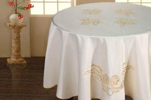 круглая скатерть на стол для кухни из шелка
