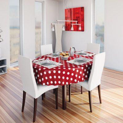 круглая скатерть на стол для кухни нейтральных оттенков