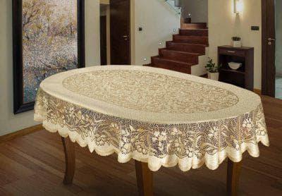скатерть на овальный стол для кухни из жаккарда