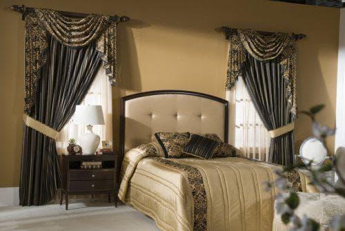 шторы на одну сторону для спальни в стиле модерна
