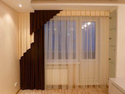 шторы на одну сторону для зала