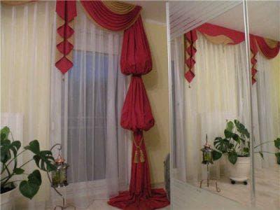 шторы на одну сторону для зала в стиле модерн