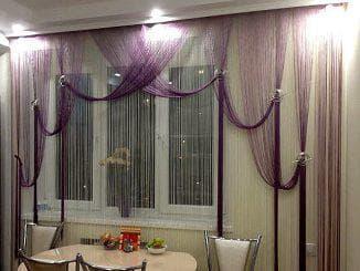 красивые нитяные шторы на кухню