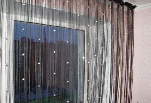 нитяные шторы разных оттенков
