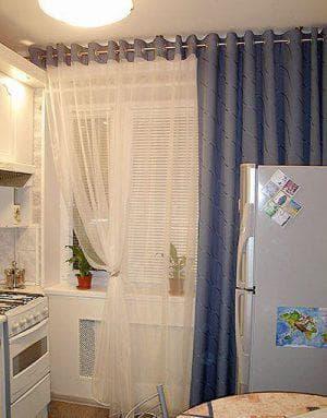 комбинированные шторы на кухню на одну сторону