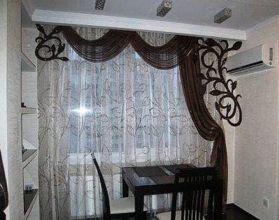шторы на кухню на одну сторону с ламбрекеном