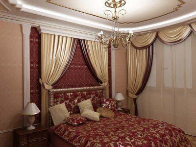 шторы на одну сторону для спальни в стиле барокко