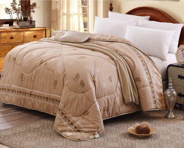 плед из верблюжьей шерсти на двуспальную кровать