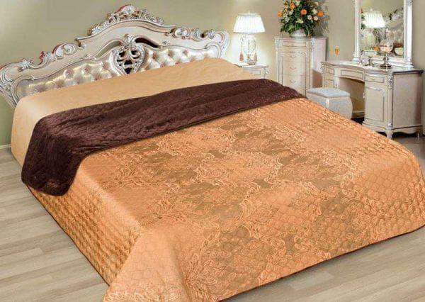 Покрывало-плед на двуспальную кровать жаккардового переплетения с геометрическим рисунком