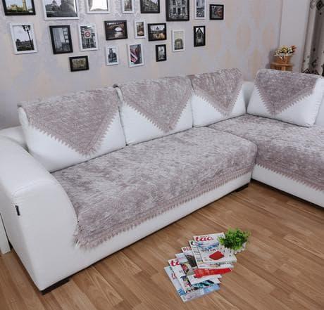 бархатный плед на угловой диван